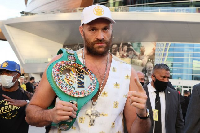 Tyson Fury poses for photos at the official arrivals for the Tyson Fury-Deontay Wilder III heavyweight boxing match Tuesday at T-Mobile Arena in Paradise, Nev. Photo by James Atoa/UPI