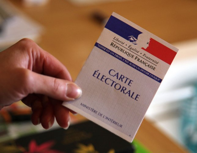 A French voting card is seen during the final round of presidential elections in Ivry-la-Bataille, France on May 6, 2012. Socialist Party candidate Francois Hollande defeated incumbent President Nicolas Sarkozy. UPI/David Silpa