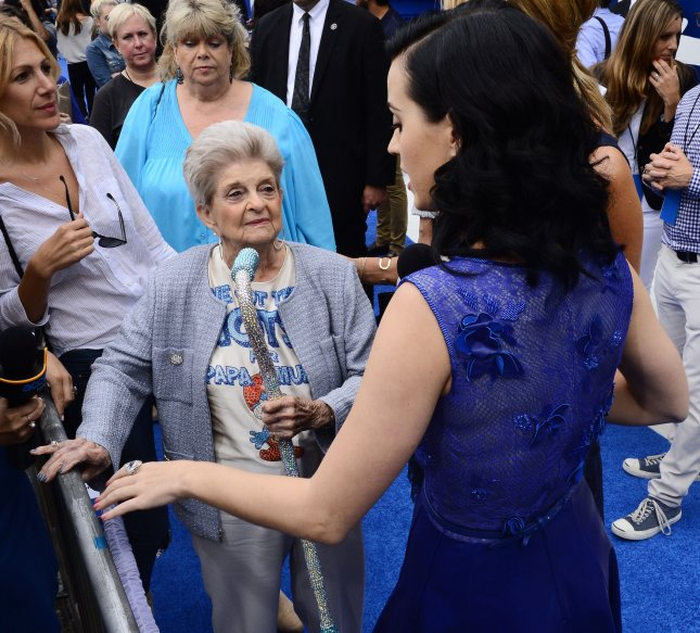 A grandparent who gets help, but can't give it, feels badly.Singer and actress Katy Perry, foreground, the voice of Smurfette in the motion picture animated comedy The Smurfs 2, attends the premiere of the film with her grandmother Ann Hudson (L) at the Regency Village Theatre, in the Westwood section of Los Angeles on July 28, 2013. UPI/Jim Ruymen