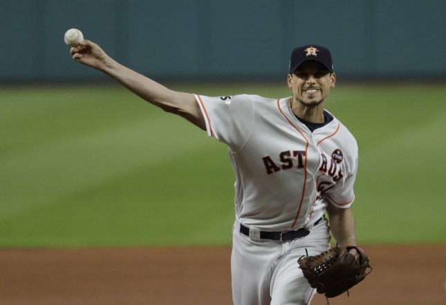 Charlie Morton and the Houston Astros face off with the Oakland A's on Tuesday. Photo by Matt Slocum/UPI