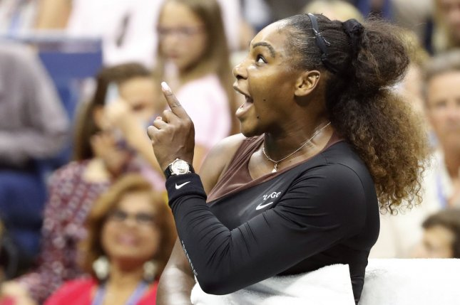 Serena Williams points her finger at the chair umpire in the 2nd set of her match against Naomi Osaka of Japan in the Women's Final in Arthur Ashe Stadium at the 2018 US Open Tennis Championships on Saturday at the USTA Billie Jean King National Tennis Center in New York City. Photo by John Angelillo/UPI