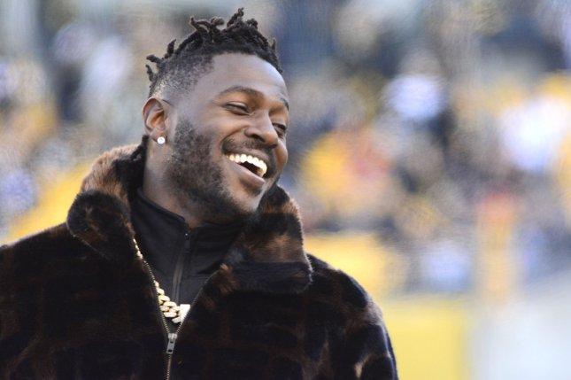 Pittsburgh Steelers wide receiver Antonio Brown was cited for reckless driving in November. He was found guilty Tuesday in Pittsburgh after failing to show up in court. File Photo by Archie Carpenter/UPI