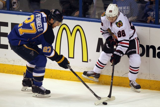 Chicago Blackhawks forward Patrick Kane (88) extended his point streak to 19 games with two goals against the Detroit Red Wings on Wednesday night. File Photo by Bill Greenblatt/UPI