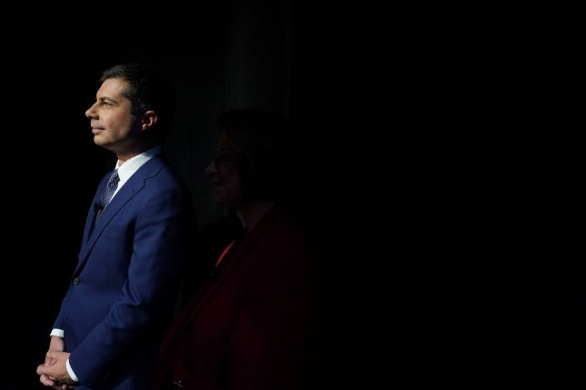 Democratic presidential candidate Pete Buttigieg waits to be introduced on the first night of primary debates on July 30 in Detroit, Mich. Photo by John Nowak/CNN/UPI