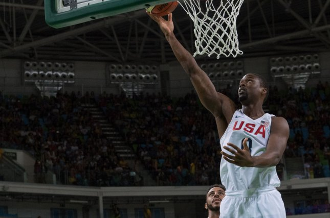 Team USA forward Harrison Barnes recorded 14 points in the Americans' first win of the 2019 FIBA Basketball World Cup. File Photo by Richard Ellis/UPI