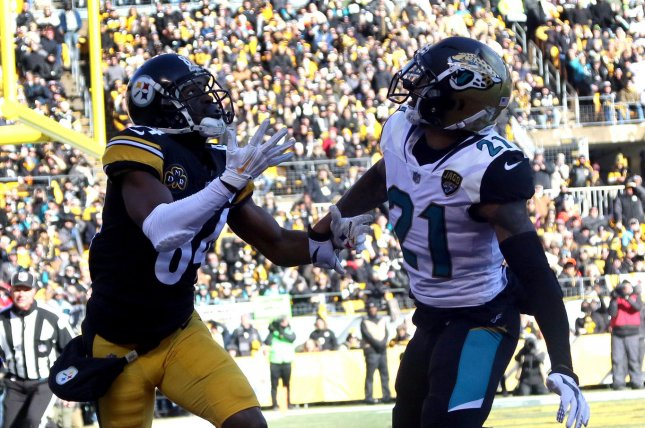 Former Jacksonville Jaguars cornerback A.J. Bouye (R) will miss the first two games of the 2021 season because of a suspension. File Photo by Aaron Josefczyk/UPI