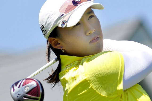 Amy Yang of Korea drives off the first tee at the final round of the USGA 2010 U.S. Women's Open at Oakmont Country Club in Oakmont, Pennsylvania on July 11, 2010. UPI/Archie Carpenter