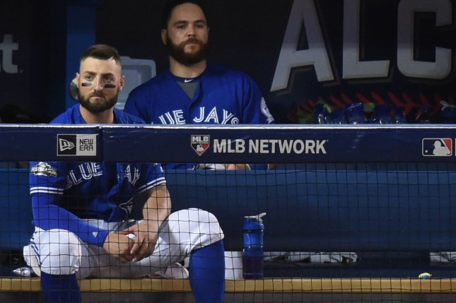 Toronto Blue Jays center fielder Kevin Pillar (L) and catcher Russell Martin sit on the bench watching the Cleveland Indians celebrate winning the American League Championship Series at Rogers Centre on October 19, 2016. File photo by Darren Calabrese/UPI