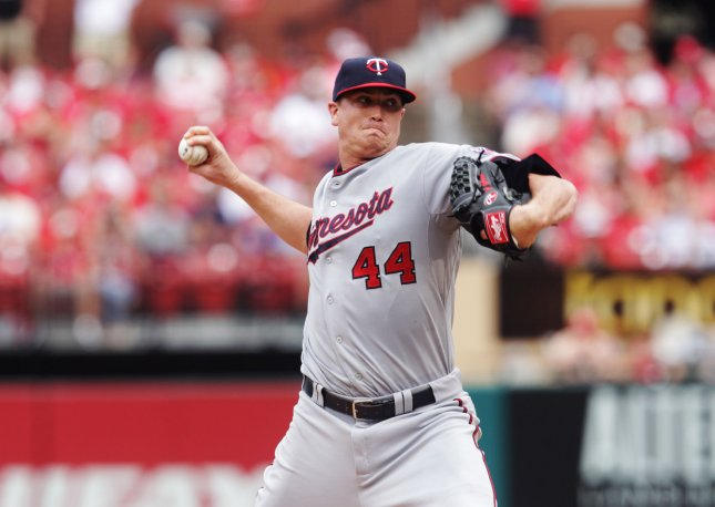 Kyle Gibson and the Minnesota Twins and the Boston Red Sox on Thursday. Photo by Bill Greenblatt/UPI
