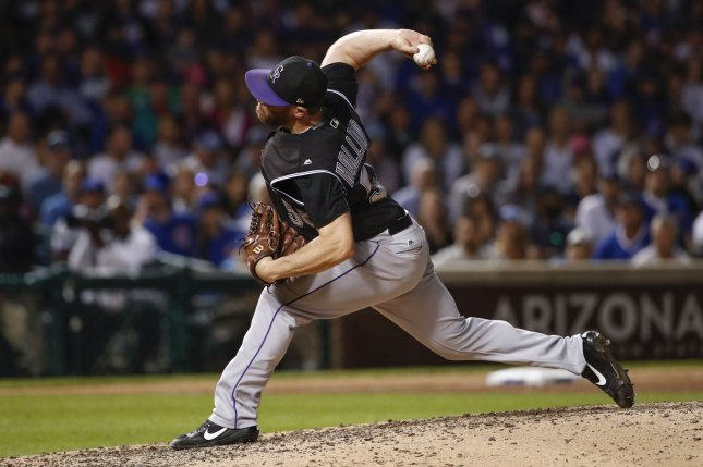Relief pitcher Greg Holland, 33, split time with the Cardinals and Nationals last season. He also has played for the Royals and Rockies. File photo by Kamil Krzaczynski/UPI