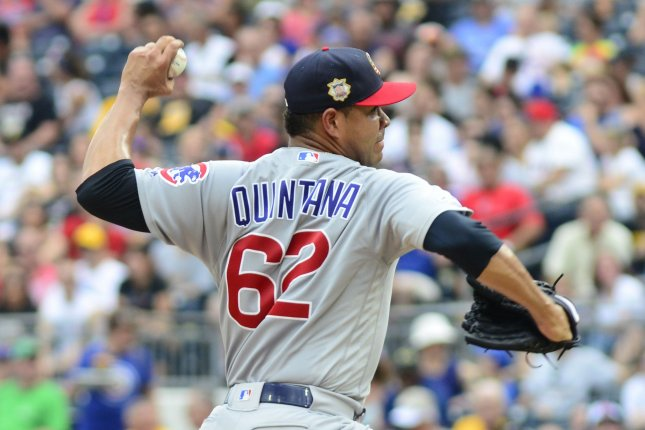Chicago Cubs starting pitcher Jose Quintana posted a 13-9 record and 4.68 ERA last season, his third with the Cubs. File Photo by Archie Carpenter/UPI