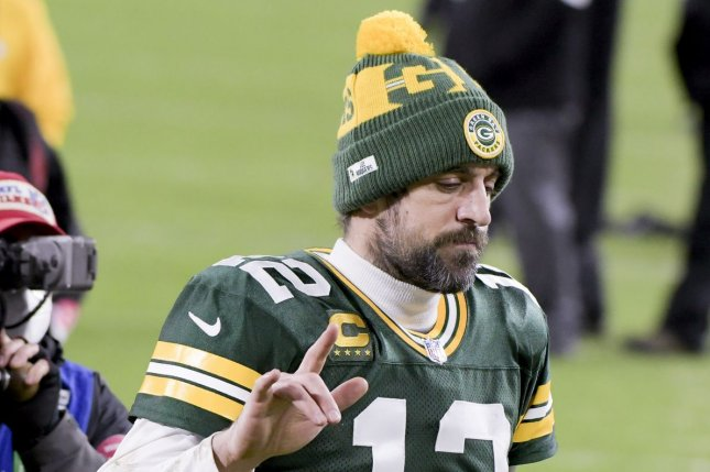 Green Bay Packers quarterback Aaron Rodgers said he is thankful he has had the opportunity to focus on his mental health this off-season, amid a dispute with the franchise's front office. File Photo by Mark Black/UPI