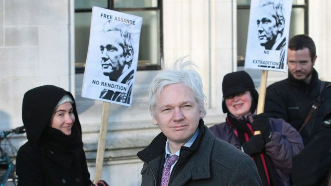 Wikileaks founder Julian Assange arrives for the final day of his Supreme Court hearing to avoid extradition to Sweden in London on Thurday February 02 2012. UPI/Hugo Philpott