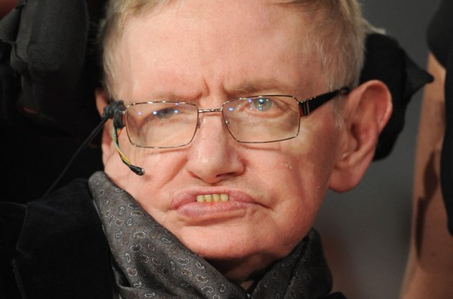 English theoretical physicist and cosmologist Stephen Hawking attends The EE British Academy Film Awards 2015 at The Royal Opera House in London on Feb. 8, 2015. Photo by Paul Treadway/UPI