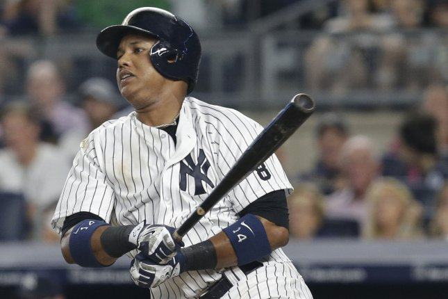 New York Yankees Starlin Castro drives in 2 runs with a single in the 4th against the Tampa Bay Rays at Yankee Stadium in New York City on August 12, 2016. File photo by John Angelillo/UPI