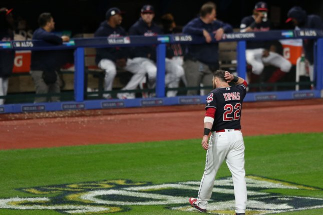 Cleveland Indians' Jason Kipnis scratches his head returning to the dugout after his strikeout ended the eighth inning against the New York Yankees during the American League Divisional Series Game 5 Wednesday at Progressive Field in Cleveland. Photo by Aaron Josefczyk/UPI
