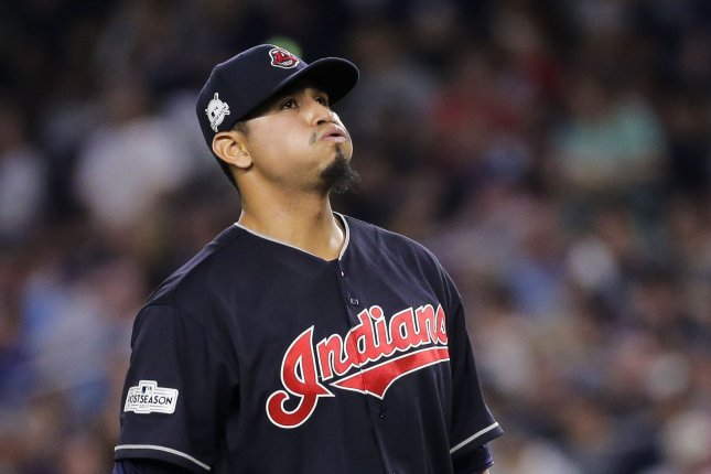 Cleveland Indians starting pitcher Carlos Carrasco reacts after he walked New York Yankees batter Didi Gregorius to load the bases in the sixth inning of the 2017 MLB Playoffs American League Divisional Series Game 3 on October 8, 2017 at Yankee Stadium in New York City. Photo by Ray Stubblebine/UPI