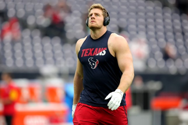 Houston Texans defensive end J.J. Watt warms up prior to a playoff game against the Kansas City Chiefs in 2016. Photo by Erik Williams/UPI
