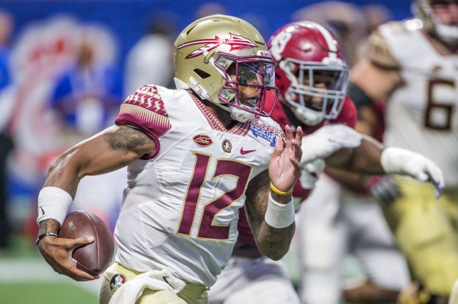 Florida State quarterback Deondre Francois was dismissed from the team by Willie Taggart, the coach announced Sunday. File photo by Mark Wallheiser/UPI