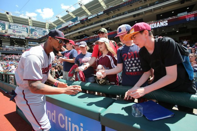 Minnesota Twins center fielder Byron Buxton is one of the best defensive outfielders in Major League Baseball. Buxton added to his highlight reel with a leaping grab in the third inning of a win against the Detroit Tigers on Sunday in Minneapolis. File Photo by Aaron Josefczyk/UPI