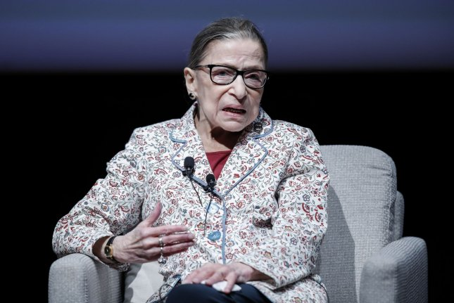 U.S. Supreme Court Justice Ruth Bader Ginsburg speaks at the University of Chicago on September 9. She missed oral augments in court Wednesday due to illness. File Photo by Kamil Krzaczynski/UPI