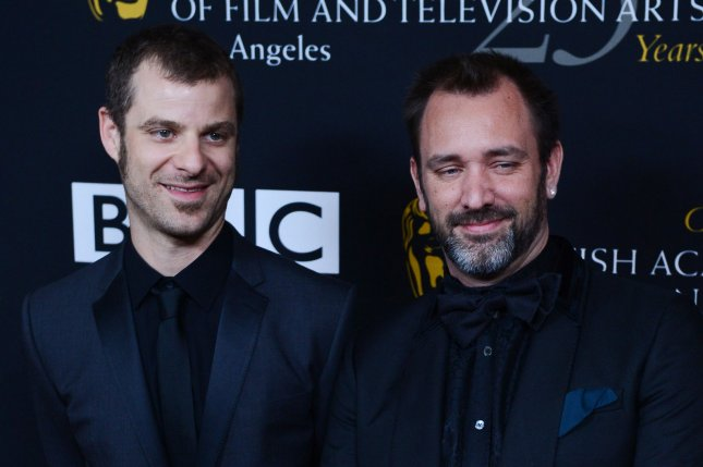 Matt Stone (L) and Trey Parker will produce 14 movies based on South Park for Paramount+. File Photo by Jim Ruymen/UPI