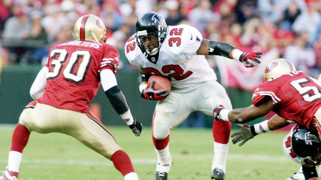 Former Atlanta Falcon Jamal Anderson (32) is among the litigants in a suit against the NFL. UPI File Photo