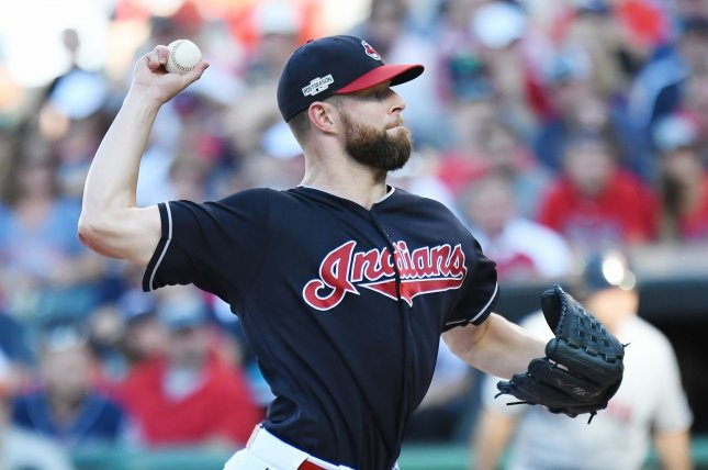 Cleveland Indians starting pitcher Corey Kluber pitches against the Boston Red Sox in the first inning of game 2 of the American League Division Series at Progressive Field in Cleveland, Ohio, on October 7, 2016. Photo by Kyle Lanzer