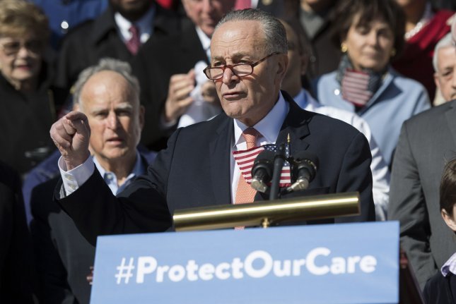 Senate Minority Leader Charles Schumer, D-N.Y., called for an all-Senate meeting to discuss the Republican effort to overhaul healthcare. Photo by Kevin Dietsch/UPI