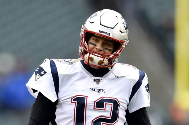 Former New England Patriots quarterback Tom Brady's All-In Challenge package included dinner or a workout with him, as well as tickets to his first home game in Tampa, his jersey and his cleats. File Photo by Derik Hamilton/UPI