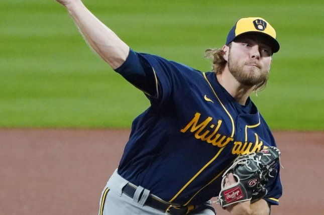 Milwaukee Brewers starting pitcher Corbin Burnes, shown Sept. 24, 2020, will miss his next start against the Los Angeles Dodgers this weekend after being put on the injured list. File Photo by Bill Greenblatt/UPI