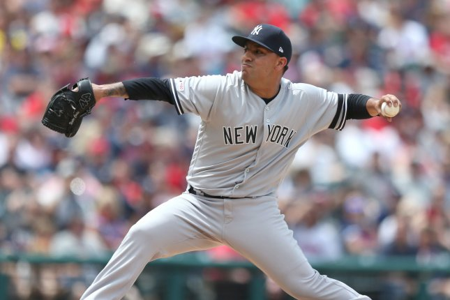 New York Yankees pitcher Nestor Cortes Jr., shown June 9, 2019, was one of two Yankees players placed in MLB's COVID-19 protocols Thursday. File Photo by Aaron Josefczyk/UPI