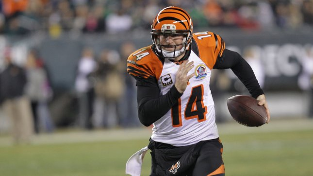 Cincinnati Bengals QB Andy Daltonin runs against the Philadelphia Eagles at Lincoln Financial Field in Philadelphia on December 13, 2012. The Bengals defeated the Eagles 34-13. UPI/Laurence Kesterson