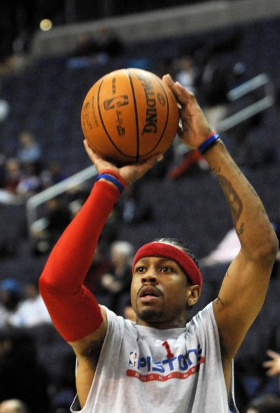 Detroit Pistons Allen Iverson warms up before the game against the Washington Wizards at the Verizon Center in Washington on December 9, 2008. (UPI Photo/Alexis C. Glenn)