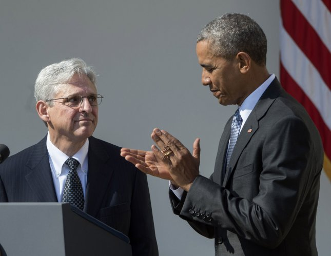 President Barack Obama discussed his decision to nominate Merrick Garland to the Supreme Court and encouraged Republicans in the Senate to take their consideration seriously, especially in a noisy and volatile political season. He praised Garland for his service on the D.C. Circuit court and noted how frequently his named was mentioned by members of both parties during past Supreme Court appointments.  Photo by Pat Benic/UPI