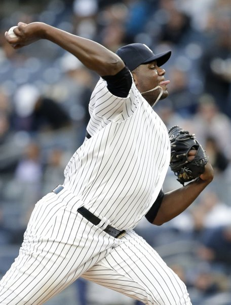 Pitcher Michael Pineda, who formerly played for the Yankees, has been suspended for 60 games, ruling out any remaining regular season or playoff games for the rest of the Minnesota Twins' season. File Photo by John Angelillo/UPI