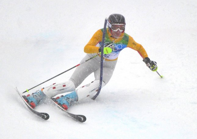Germany's Maria Riesch competes in the 2010 Winter Olympics slalom Feb. 26, 2010. UPI/Kevin Dietsch
