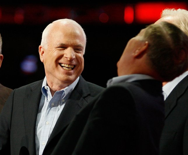 Republican Presidential candidate Sen. John McCain (R-AZ) (L) is joined by Sen. Lindsey Graham (R-SC) on stage for a sound check on the fourth day of the Republican National Convention at the Xcel Energy Center in St. Paul, Minnesota on September 4, 2008. McCain is set deliver his acceptance speech later in the day. (UPI Photo/Brian Kersey)