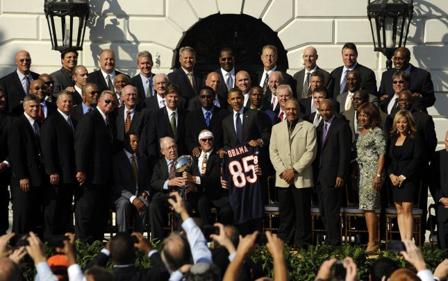 U.S. President Barack Obama welcomes the 1985 Super Bowl Champion Chicago Bears to celebrate the 25th anniversary of their Super Bowl victory on the South Lawn of the White House in Washington, Oct. 7, 2011. UPI/Roger L. Wollenberg