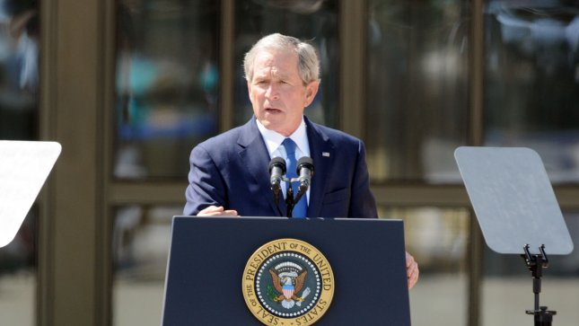 President George W. Bush delivers remarks at the dedication of his Presidential Library in Dallas on April 25, 2013. The museum, located on the campus of SMU in Dallas, features a permanent exhibit that uses artifacts, documents, photographs, and videos from the Library's extensive collection to capture the key decisions and events of the Presidency of George W. Bush. UPI/Ian Halperin