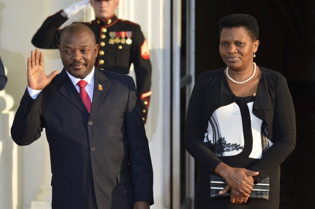 Burundi's President Pierre Nkurunziza, seen here in 2014 as he visited the White House in Washington with First Lady Denise Bucumi in 2014, was reportedly overthrown Wednesday UPI/Mike Theiler