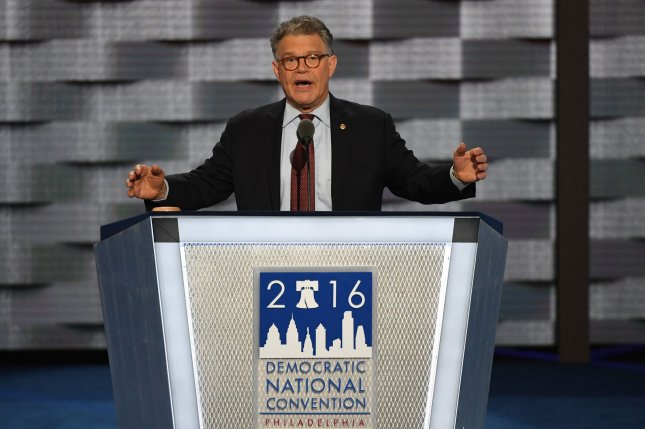 Sen. Al Franken of Minnesota speaks on day one of the Democratic National Convention at the Wells Fargo Center in Philadelphia. Franken skewered Donald Trump for his controversial Trump University real estate seminars. Photo by Pat Benic/UPI