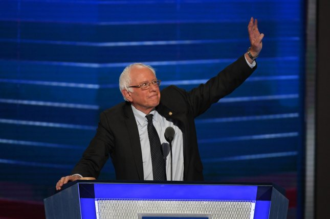 """Senator Bernie Sanders of Vermont speaks on day one of the Democratic National Convention at the Wells Fargo Center in Philadelphia, Pennsylvania on Monday. On Tuesday he said his supports need to """"accept the reality"""" that Hillary Clinton is their nominee. Photo by Pat Benic/UPI"""