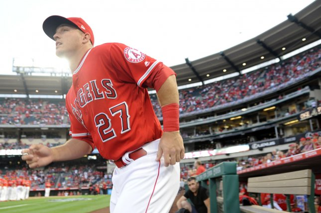Los Angeles Angels' Mike Trout takes the field for the game against the Seattle Mariners at Angel Stadium in Anaheim, California on April 7, 2017. File photo by Lori Shepler/UPI
