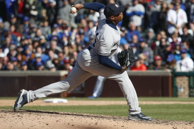 The Yankees have placed closer Aroldis Chapman on the 10-day disabled list with rotator cuff inflammation. File photo by Kamil Krzaczynski/UPI