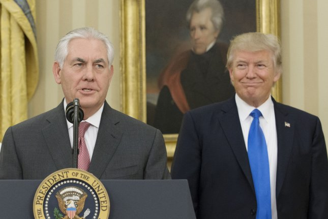 Secretary of State Rex Tillerson (L), shown here with President Donald Trump, put Pakistan on a watch list for severe religious freedom violations. File Photo by Michael Reynolds/UPI