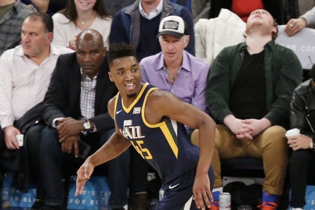 Utah Jazz rookie Donovan Mitchell reacts after scoring a basket in the first half against the New York Knicks on November 15 at Madison Square Garden in New York City. Photo by John Angelillo/UPI