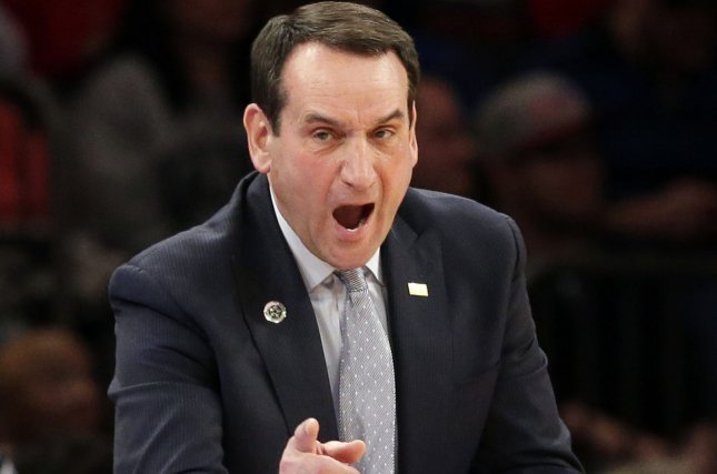 Coach Mike Krzyzewski leads his second-ranked Duke Blue Devils against the Princeton Tigers on Tuesday. Photo by John Angelillo/UPI