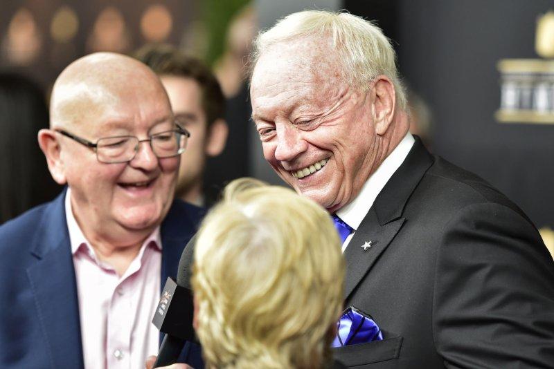 Dallas Cowboys owner Jerry Jones (C) had his franchise valued at $5 billion. File Photo by David Tulis/UPI
