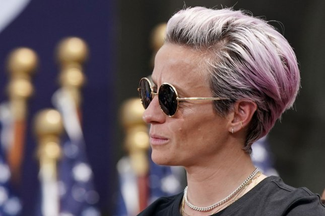 United States Women's National Team star Megan Rapinoe said the team's players were very upset by language used by the U.S. Soccer Federation's legal team as part of a court filing in the players' equal pay lawsuit. File Photo by John Angelillo/UPI